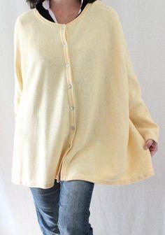 Pure Jill J Jill Cotton Dolman Sleeve Button Down Oversize Cardigan Yellow Sz XL #JJill #Cardigan
