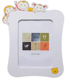 UberLyfe Happy Bunch of Kids Photo Frame in Pristine White MDF Wood
