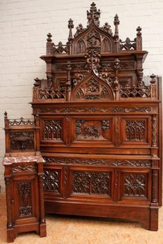 thegatz - Stunning Antique French Gothic Bedroom, Rare Model, Wonderful Carved Gothic Detail, Large Bed, $16,900.00 (http://www.thegatz.com/stunning-antique-french-gothic-bedroom-rare-model-wonderful-carved-gothic-detail-large-bed/)