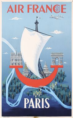 Buy online, view images and see past prices for Original Air France Paris Travel Poster Bilon Art. Invaluable is the world's largest marketplace for art, antiques, and collectibles. Air France, Ville France, Paris Travel, France Travel, Vintage Advertisements, Vintage Ads, Vintage Airline, French Vintage, Paris Vintage