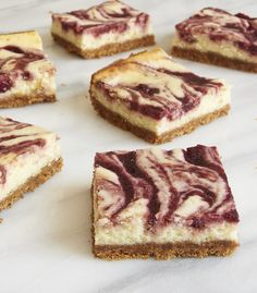 Rich cheesecake gets swirled with sweet cherries in these Cherry Cheesecake Bars from Bake or Break. A delightful way to enjoy a classic flavor combination!