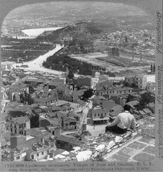 A view from Acropolis on Choragic Monument of Lysicrates, Temple of Zeus and Stadium, 1907 - Photographs of Athens in the Late and Early Century Best of Web Shrine Attica Athens, Athens Greece, Parthenon, Acropolis, Old Pictures, Old Photos, World Geography, Heritage Site, Vintage Photographs