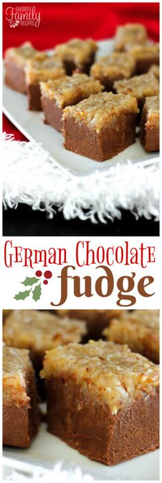 Looking for the perfect chocolate fudge recipe but with a little twist? You are going to love this rich, smooth German chocolate fudge topped with a chewy coconut topping! via @favfamilyrecipz