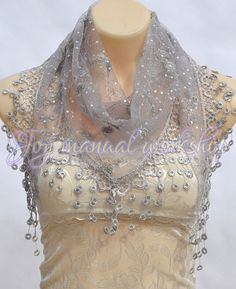 Gray lace embroidery scarf spring summer lace Sequin by xyuezw, $16.00