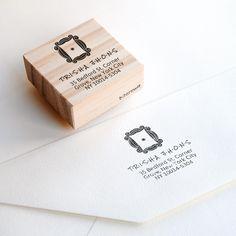 custom address stamp geek housewarming gift, geek newlywed gift for geeky couple, friends door frame gift, peephole frame custom stamp, geek Custom Address Stamp, Custom Stamps, Friends Door Frame, Geek Couple, Video Game Wedding, Geek Crafts, Wedding Envelopes, Newlywed Gifts, Stamp Making