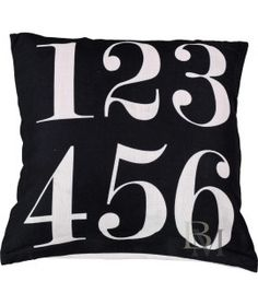 Poszewka Numbers czarna 45x45 cm Numbers, Shabby Chic, Throw Pillows, Home Decor, Living Room, Toss Pillows, Decoration Home, Room Decor, Decorative Pillows
