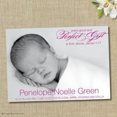 Religious birth announcement. Every good and perfect gift is from above.   by brownpaperstudios, $15.00 brownpaperstudios.com