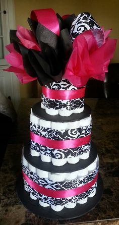pink+black+and+white+babyshower+cakes | NEW three tier diaper cake black and white damask print and hot pink ...