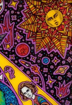 "Artist Vinny Michaud ""Space Queens"" painting on glass. Religious, Creature, Alien, Occult, Portraits & space Art by Vincent Michaud.  http://www.vincentmichaud.vision/painting/"