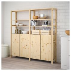 IVAR 2 section shelving unit w/cabinet - pine - IKEA - IKEA – IVAR, 2 section shelving unit w/cabinet, pine, Untreated solid pine is a durable natural m - Cube Storage Unit, Storage Shelves, Wall Shelves, Cabinet Shelving, Storage Organizers, Shelving Units, Ikea Ivar Cabinet, Cabinet Doors, Ivar Regal