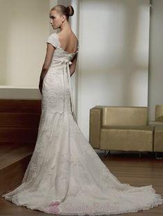 Lace Wedding Dresses w/ cap sleeves   ... Cap Sleeve V-neck Applique Lace Wedding Dress With Sleeves W1660 & I LOVE IT!!!!