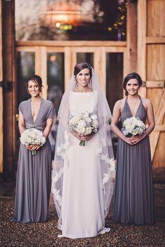 Gorgeous deep purple/grey bridesmaid dresses #bridesmaidideas #weddingideas #bridesmaiddresses