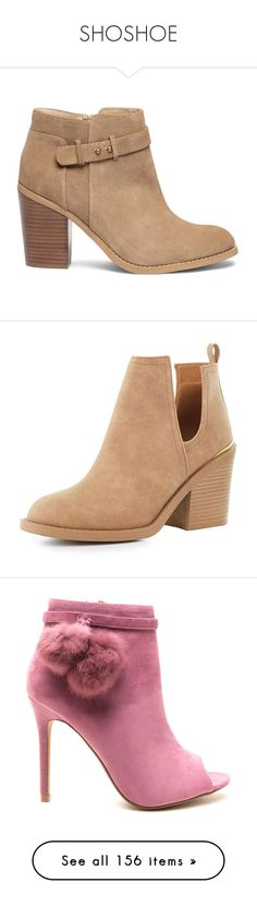 """""""SHOSHOE"""" by egchee ❤ liked on Polyvore featuring shoes, boots, ankle booties, booties, heels, ankle boots, coffee, suede ankle boots, heeled booties and suede booties"""