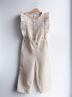 Linen overall for a girl summer jumpsuit from natural flax Baby Girl Party Dresses, Little Girl Outfits, Cute Outfits For Kids, Toddler Girl Dresses, Toddler Outfits, Toddler Girls, Stylish Dresses For Girls, Frocks For Girls, Kids Dress Wear