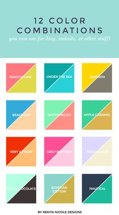 color combinations for small business logos and websites. LOVE the pink and green! M :: 2 Color Combinations — Rekita Nicole Colour Pallete, Colour Schemes, Color Combos, Color Patterns, Best Color Combinations, Color Palettes, Combination Colors, Color Mixing Chart, Clothes Combinations