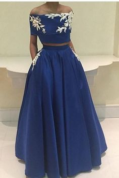 Evening Dress, Prom Dress, Boat Neck Evening Dress, Royal Blue Evening Dress, Appliques Evening Dress, Long Evening Dress,Formal Evening Dress, Two Pieces Evening Dress, Plus Size Evening Dress, Praty dress,Cap Sleeve Evening Dress,A-Line Evening Dress,Evening Dress 2017
