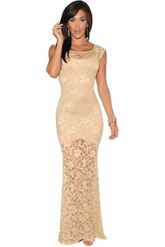 Ivory Sexy Lined Long Lace Evening Dress   USTrendy
