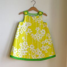 Yellow & Green flower spring toddler dress - size 4T - Girls Spring Easter Dress from vintage fabric, $36.00