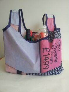 Unique, up-cycled, reusable, fold away, shopping bag £8.00