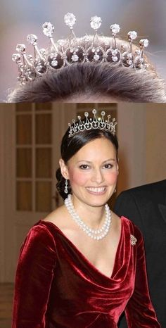 Carina Axelsson wearing the Sayn-Wittgenstein-Berleburg Diamond Spike Tiara. She is a permanent girlfriend of Gustav, Hereditary Prince of Sayn-Wittgenstein-Berleburg.