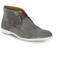 HUGO BOSS Perforated Chukka Sneakers ($360) ❤ liked on Polyvore featuring men's fashion, men's shoes, men's sneakers, apparel & accessories, slate grey, mens perforated shoes, mens lace up shoes, mens breathable shoes and mens chukka sneakers