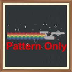Star Trek (Nyan Rainbow) Cross Stitch Pattern