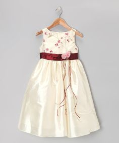 Look at this #zulilyfind! Ivory & Burgundy Dress - Infant, Toddler & Girls by Kid's Dream #zulilyfinds
