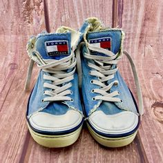 vintage Tommy Hilfiger Shoes Hi Tops Denim Jean Trainers distressed Look sneaker Grunge Goth, Tommy Hilfiger Shoes, Click Photo, Boots For Sale, Vans Sk8, Girls Shoes, Denim Jeans, High Top Sneakers, Shoe Boots