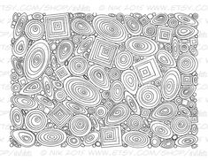 Ovals and Squares Wall of Shapes Printable Coloring by Inklets