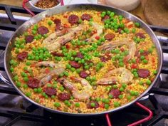 Seafood and Chorizo Paella recipe from Worst Cooks in America via Food Network ----- loved it! Don't be afraid to let it get toasty. Chorizo Recipes, Seafood Recipes, Mexican Food Recipes, Dinner Recipes, Ethnic Recipes, Yummy Recipes, Seafood Dishes, Dinner Ideas, Recipes