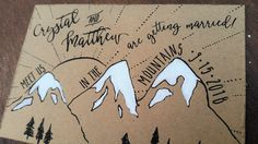 mountain save the date postcard hand painted wedding by everafterpapery on Etsy https://www.etsy.com/ca/listing/289895241/mountain-save-the-date-postcard-hand