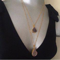 SALE Gold Plated Amethyst Necklace  Druzy by santorinijewellery