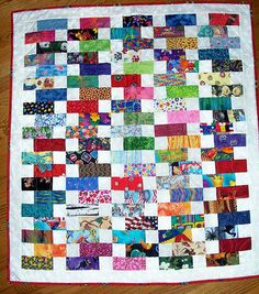Baby Bricks Scrap Quilt. I like this for a cute I Spy quilt- use material with a pic or pattern