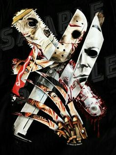 Blades Of Slasher. Or Cut throat crew. Horror Movie Tattoos, Horror Movie Characters, Classic Horror Movies, Iconic Movies, Slasher Movies, Horror Artwork, Horror Icons, Arte Horror, Scary Movies