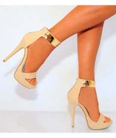 Nude - Gold Ankle Strap Heels