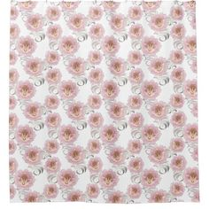 Large Pink & Silver Flowers - Shower Curtain 2