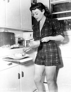 Paulette Goddard in her kitchen