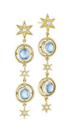 Anthony Lent's Moonstone Airline Earrings - September 22 2019 at Moon Jewelry, Star Jewelry, Moonstone Jewelry, Art Deco Jewelry, Fine Jewelry, Jewelry Design, Jewelry Ideas, Beautiful Earrings, Jewelery