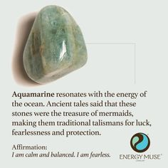 Aquamarine Stone, View the Best Aquamarine Stones from Energy Muse Crystal Healing Stones, Crystal Magic, Crystals And Gemstones, Stones And Crystals, Gem Stones, Crystals For Luck, Story Stones, Reiki, Les Chakras