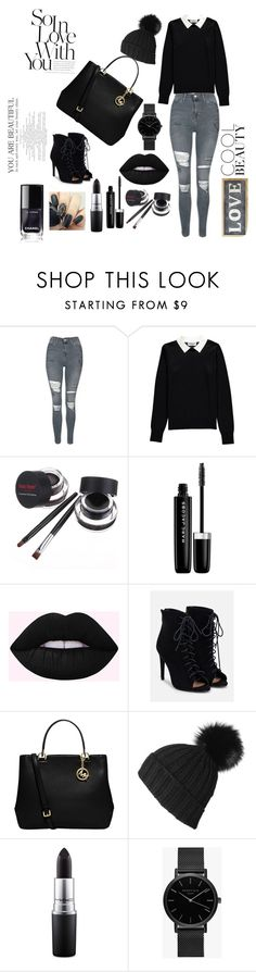 """Black"" by casandra-horlyck-holst ❤ liked on Polyvore featuring Topshop, Essentiel, Marc Jacobs, JustFab, MICHAEL Michael Kors, Black, MAC Cosmetics, ROSEFIELD and Parlane"