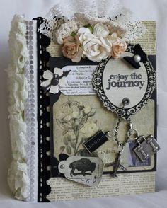 """ENJOY THE JOURNEY!"" shabby vintage premade scrapbook album by Cindy"