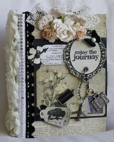 """ENJOY THE JOURNEY!"" shabby vintage premade scrapbook album by Cindy"