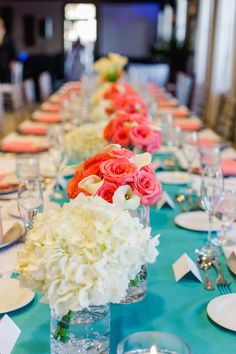 Teal and Coral Hydragena and Rose Wedding Centerpieces with Long Feasting Tables | Wedding Reception at The Club at Treasure Island