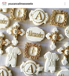 Baptism cookies for Alexander's special day  Christening Cupcakes, Baptism Cookies, Baby Boy Christening, Baby Cookies, Baby Shower Cookies, Sugar Cookies, Baptism Cake Pops, Baptism Themes, Baptism Party Decorations