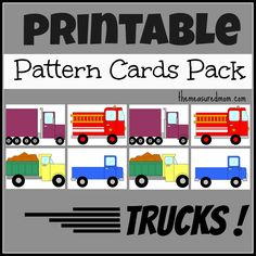 printable truck pattern cards