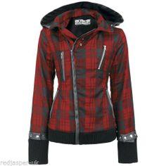 Poizen Industries EMO Gothic Punk Z Jacket Ladies RED ZIP Tartan Check | eBay