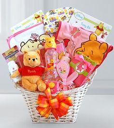 Let Winnie the Pooh welcome the new little Honey into their lives with this adorable basket of baby girl delights. Featuring a soft and cuddly Winnie the Pooh Beanie, who is ready to be hugged, this s Baby Girl Gift Baskets, Baby Shower Gift Basket, Baby Hamper, Baby Girl Gifts, New Baby Gifts, Baby Shower Gifts, Welcome Baby Girls, Baby Shower Parties, Winnie The Pooh