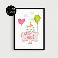 Affiche personnalisable Licorne pour chambre de bébé avec prénom - Poster citation scandinave (21x30cm)