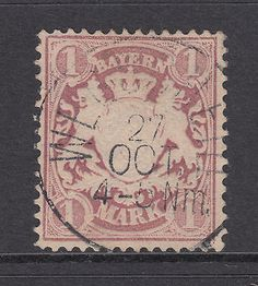 Bavaria Mi 43I used 1879 1m Coat of Arms, M & A Joined in MARK variety