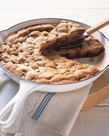 Sheer size is reason enough to crave this giant cookie. Dig a little deeper, however -- down to its soft, sweet center -- and you'll find an irresistible cache of milk- and semisweet-chocolate chips. If you need further enticement, consider how easy it is to make: It's bake-and-slice simplicity itself. Serve a warm wedge topped with vanilla ice cream and homemade caramel sauce.